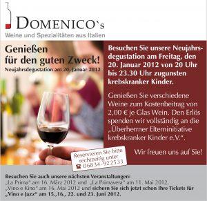 E-Mail Aktion Domenicos Neujahrsdegustation