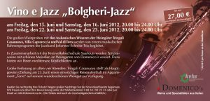 Flyer Domenicos Vino e Jazz
