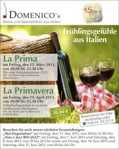 E-Mail Aktion Domenicos Frühjahrsdegustation