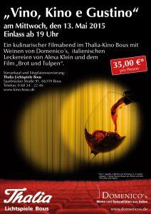 Flyer Domenicos Vino e Kino Thalia Kino Bous